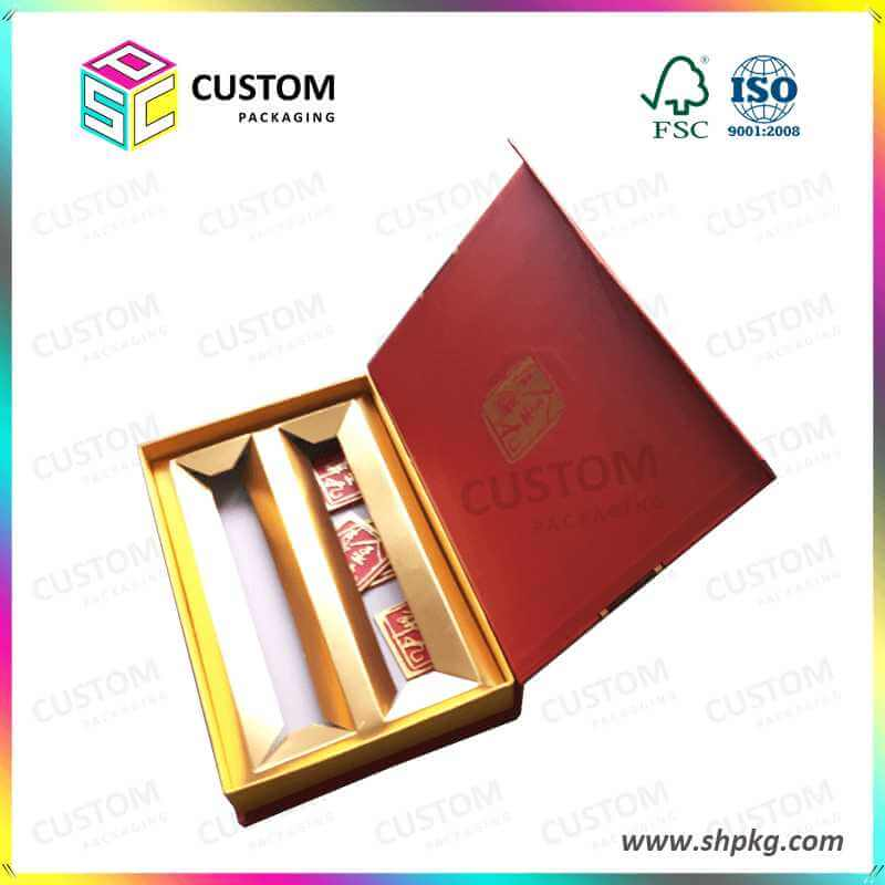 Moon Cake Food Box with Decoration Gold Insert Printing