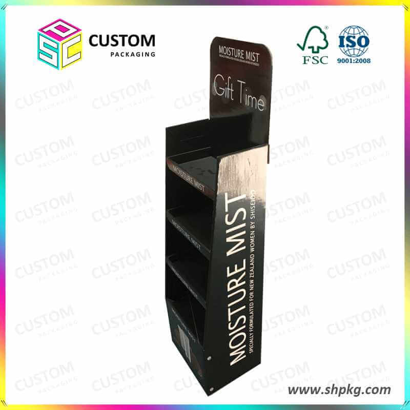 PDQ-Floor Standing Cardboard Book Counter Display Stand and Rack for Cosmetic Products